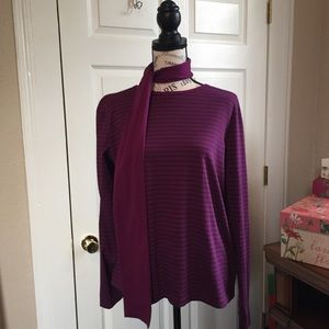 LL Bean striped long sleeve T-shirt with scarf